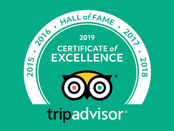 Tripadvisor Certificate of Excellence 2019 and hall of fame